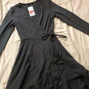 NWT Grey Wrap Style Dress